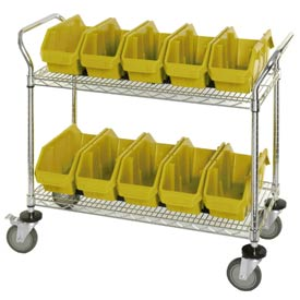 "Quantum WRC2-1836-1867 Chrome Wire Mobile Cart With 10 QuickPick Double Open Bins Yellow 36""x18""x38"""