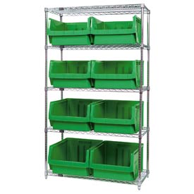 Quantum WR5-543 Chrome Shelving With 8 Magnum Giant Hopper Bins Green, 18x42x74
