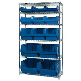Quantum WR6-13-MIX Chrome Shelving With 13 Magnum Giant Hopper Bins Blue, 18x42x74