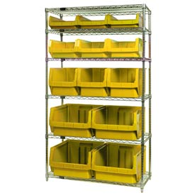 Quantum WR6-13-MIX Chrome Shelving With 13 Magnum Giant Hopper Bins Yellow, 18x42x74