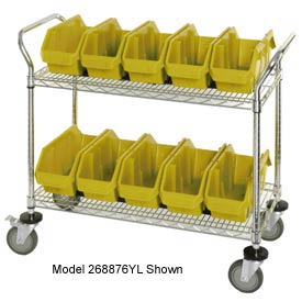 "Quantum WRC2-1836-1887 Chrome Wire Mobile Cart With 8 QuickPick Double Open Bins Yellow, 36""x18""x38"""
