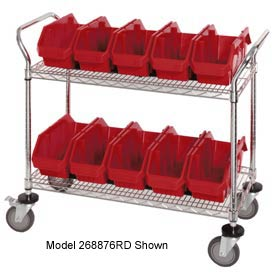 "Quantum WRC2-1836-1887 Chrome Wire Mobile Cart With 8 QuickPick Double Open Bins Red, 36""x18""x38"""