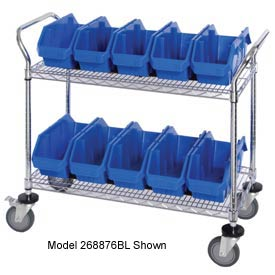 "Quantum WRC3-1836-1887 Chrome Wire Mobile Cart With 12 QuickPick Double Open Bins Blue, 36""x18""x38"""