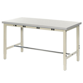 """72""""W x 30""""D Production Workbench with Power Apron - Plastic Laminate Square Edge - Tan"""