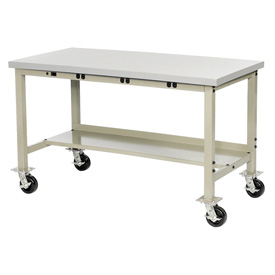 "72""W x 30""D Mobile Production Workbench with Power Apron - Plastic Laminate Square Edge - Tan"