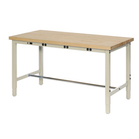 "72""W x 24""D Production Workbench with Power Apron - Maple Butcher Block Square Edge - Tan"