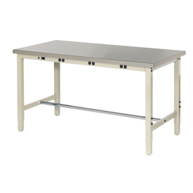 "48""W x 30""D Production Workbench with Power Apron - Stainless Steel Square Edge - Tan"