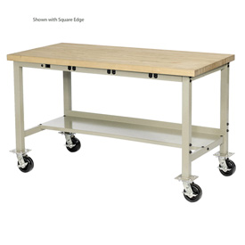 """72""""W x 30""""D Mobile Production Workbench with Power Apron - Maple Butcher Block Safety Edge - Tan"""