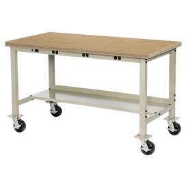 "72""W x 36""D Mobile Production Workbench with Power Apron - Shop Top Safety Edge - Tan"