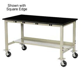 "72""W x 36""D Mobile Production Workbench with Power Apron - Phenolic Resin Safety Edge - Tan"