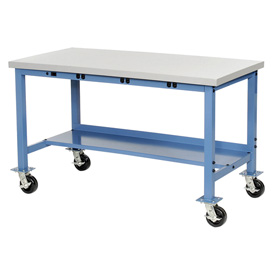 "72""W x 30""D Mobile Production Workbench with Power Apron - ESD Square Edge - Blue"