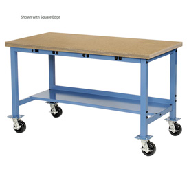 "60""W x 30""D Mobile Production Workbench with Power Apron - Maple Butcher Block Safety Edge - Blue"