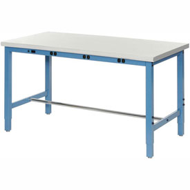 """72""""W x 30""""D Lab Bench with Power Apron - Plastic Laminate Safety Edge - Blue"""