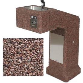Concrete Outdoor Drinking Fountain ADA Accessible - Red Quartzite