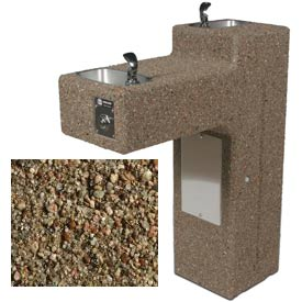 Concrete Dual Outdoor Drinking Fountain ADA Accessible - Tan River Rock