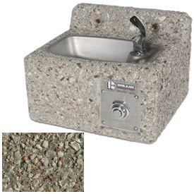 Concrete Wall-Mount Outdoor Drinking Fountain - Gray Limestone