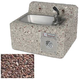 Concrete Wall-Mount Drinking Fountain - Red Quartzite