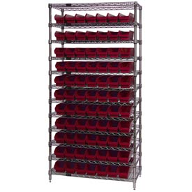 "Chrome Wire Shelving with 77 4""H Plastic Shelf Bins Red, 36x14x74"
