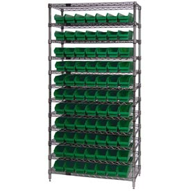 "Chrome Wire Shelving with 77 4""H Plastic Shelf Bins Green, 36x14x74"