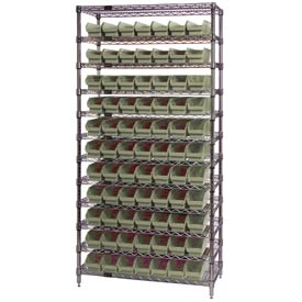 "Chrome Wire Shelving with 77 4""H Plastic Shelf Bins Stone, 36x14x74"