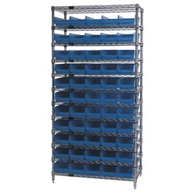"Chrome Wire Shelving with 55 4""H Plastic Shelf Bins Blue, 36x14x74"