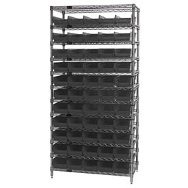 "Quantum WR12-102 Chrome Wire Shelving With 55 4""H Shelf Bins Black, 12x36x74"