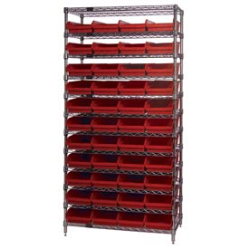 "Chrome Wire Shelving with 44 4""H Plastic Shelf Bins Red, 36x14x74"