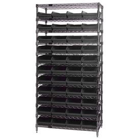"Quantum WR12-107 Chrome Wire Shelving With 44 4""H Shelf Bins Black, 12x36x74"