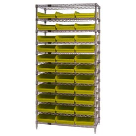 "Chrome Wire Shelving with 33 4""H Plastic Shelf Bins Yellow, 36x14x74"