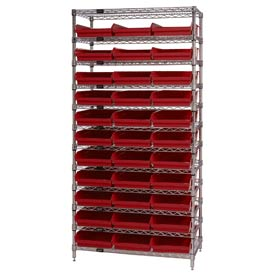 "Chrome Wire Shelving with 33 4""H Plastic Shelf Bins Red, 36x14x74"