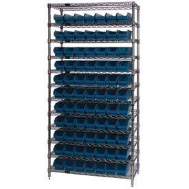 "Chrome Wire Shelving with 77 4""H Plastic Shelf Bins Blue, 36x18x74"