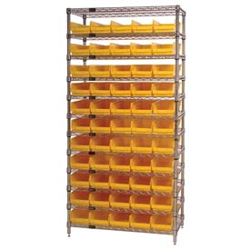 "Chrome Wire Shelving with 55 4""H Plastic Shelf Bins Yellow, 36x18x74"