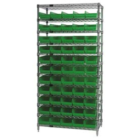 "Chrome Wire Shelving with 55 4""H Plastic Shelf Bins Green, 36x18x74"