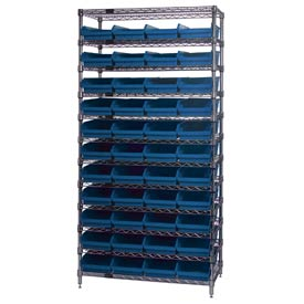"Chrome Wire Shelving with 44 4""H Plastic Shelf Bins Blue, 36x18x74"