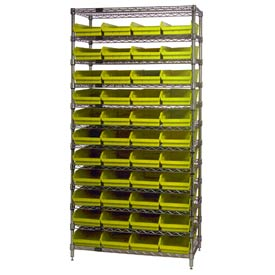 "Chrome Wire Shelving with 44 4""H Plastic Shelf Bins Yellow, 36x18x74"
