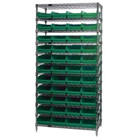 "Chrome Wire Shelving with 44 4""H Plastic Shelf Bins Green, 36x18x74"
