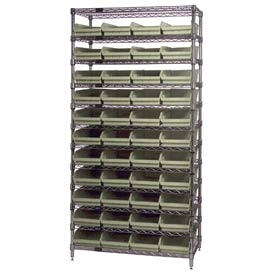 "Chrome Wire Shelving with 44 4""H Plastic Shelf Bins Stone, 36x18x74"