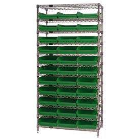 "Chrome Wire Shelving with 33 4""H Plastic Shelf Bins Green, 36x18x74"