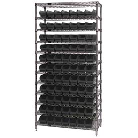 "Quantum WR12-105 Chrome Wire Shelving With 77 4""H Shelf Bins Black, 24x36x74"
