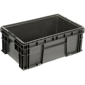 "Buckhorn Straight Wall Container SW241509F101000 Solid 24""L x 15""W x 9-1/2""H, Gray"