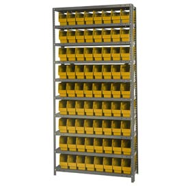 "Quantum 1275-201 Steel Shelving With 72 6""H Shelf Bins Yellow, 36x12x75-10 Shelves"