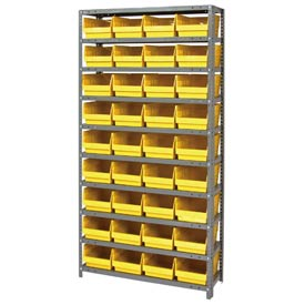 "Quantum 1275-207 Steel Shelving With 36 6""H Shelf Bins Yellow, 36x12x75-10 Shelves"