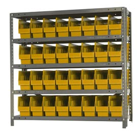 "Quantum 1239-201 Steel Shelving With 32 6""H Shelf Bins Yellow, 36x12x39-5 Shelves"