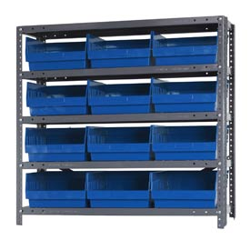 "Quantum 1239-209 Steel Shelving With 12 6""H Shelf Bins Blue, 36x12x39-5 Shelves"