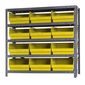 "Quantum 1239-209 Steel Shelving With 12 6""H Shelf Bins Yellow, 36x12x39-5 Shelves"
