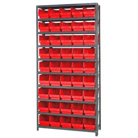 "Quantum 1875-204 Steel Shelving With 45 6""H Shelf Bins Red, 36x18x75-10 Shelves"