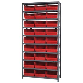 "Quantum 1875-208 Steel Shelving With 36 6""H Shelf Bins Red, 36x18x75-10 Shelves"