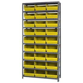 "Quantum 1875-210 Steel Shelving With 27 6""H Shelf Bins Yellow, 36x18x75-10 Shelves"