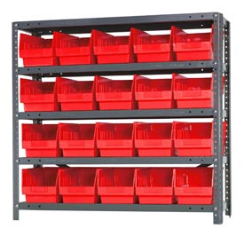 "Quantum 1839-204 Steel Shelving With 20 6""H Shelf Bins Red, 36x18x39-5 Shelves"