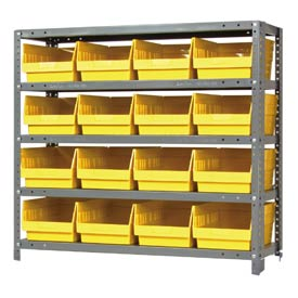 "Quantum 1839-208 Steel Shelving With 16 6""H Shelf Bins Yellow, 36x18x39-5 Shelves"